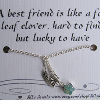 Best Friend Lucky Charm Necklace and Friendship Quote Inspirational Card- Bridesmaids Gift - Friends Forever - Quote Gift