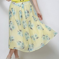Yellow Floral Printed Skirt