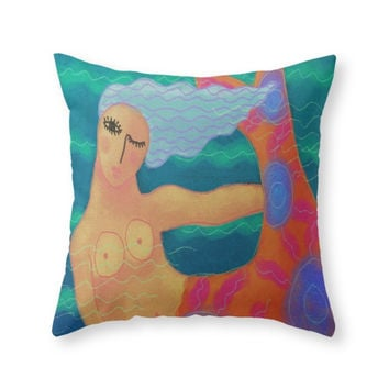 Society6 Mermaid With Red Throw Pillow