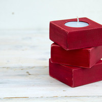Wood candle holder, red, tea light candle holders set of 3, 30% off