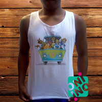 Scooby Doo Mistery Machine Men's White Cotton Solid Tank Top