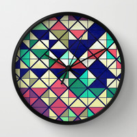 Colorful grid Wall Clock by Tony Vazquez