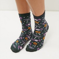 Black Halloween Lollipop Print Socks
