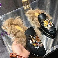 Bunchsun GUCCI Autumn and winter new fashion embroidery bee tiger snake flower keep warm women single shoes slippers