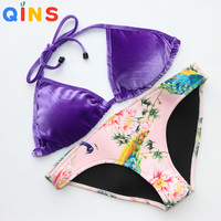 QINS 2017 New Sexy Swimwear Velvet Neoprene Bikinis Women Swimsuit Low waist Bathing Suits Swim Printing Push Up Bikini Set