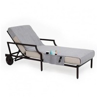 Chaise Lounge Cover with 3 Side Accessory Pockets - Grey