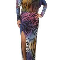 Multicolored Safari Maxi Dress