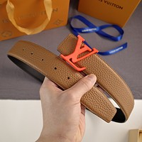 LV fashion versatile business casual belt orange buckle belt