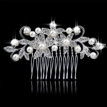 Sparkling Garden Pearl Accented Hair Comb
