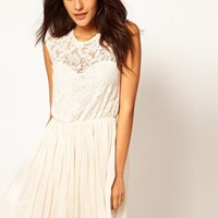 ASOS Skater Dress With Lace And Mesh at asos.com