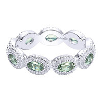 Gabriel Sterling Silver Stackable Ring Featuring Oval Cut Green Amethysts