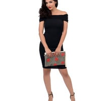 Retro Style Black Chevron Textured Off The Shoulder Knit Wiggle Dress