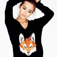 Wildfox Couture Fox Trot V-Neck Sweater in Clean Black