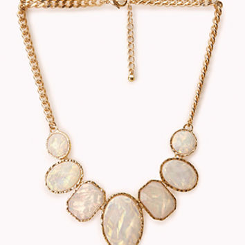 FOREVER 21 Goddess Iridescent Faux Stone Necklace Ivory/Gold One