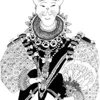 Fancy Scornful Cat Goddess of the Superior Stare, Funny Detailed Cat God Drawing, Victorian Style Cat Deity wearing Elizabethan Era Clothes