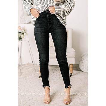 Goal Crusher High Rise Ankle Skinny Jeans | Black