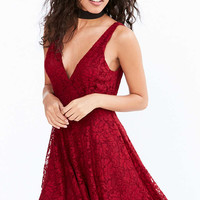 Kimchi Blue Plunging Lace Fit + Flare Mini Dress - Urban Outfitters