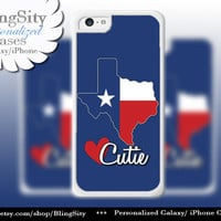 Texas Flag Cutie Love iPhone 5C case, 5 iPhone 4 Case, iPhone 5S Ipod 4 5 Case State Shape Flag Personalized Name