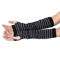 Women Arm Warmers Striped Fingerless Gloves button Knitted Mitten Long Gloves guantes tactical gloves IMY66