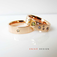Champaign Diamonds his and her Wedding bands by Eniko Design