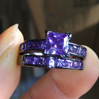 Size 6/7/8 Princess cut 10kt black gold filled Amethyst Wedding Ring set gift = 1932754116