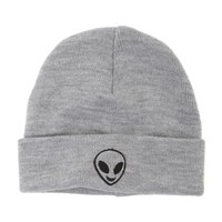 With Love From CA Alien Foldover Beanie - Womens Hat - Grey - One