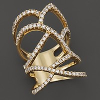 Diamond Pavé Statement Ring in 14K Yellow Gold, 1.25 ct. t.w.