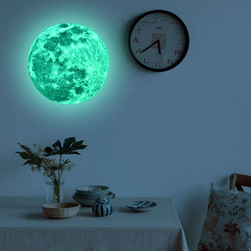 30cm Moon Glow in the Dark Moonlight Luminous Art Mural wall stickers home decor living room mirror wall stickers for kids rooms