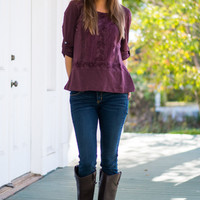 Lace Love Top, Maroon