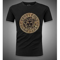VERSACE Summer Fashionable Men Casual Print T-Shirt Top Tee Black