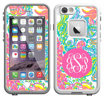 Monogrammed Lilly Pulitzer Inspired LifeProof Case Skin Decal - iPhone 6 Plus, iPhone 6, iPhone 5/5s, iPhone 5c or iPhone 4/4s