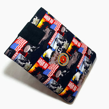 Tablet Case, iPad Cover, Marine Corps, Patriotic, Kindle Fire Cover,  7, 8, 9, 10 inch Tablet Sleeve, Cozy, Handmade, FOAM Padding