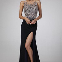 PRIMA 17-8793 Navy Jeweled Sheer Illusion Top Prom Dress Evening Gown