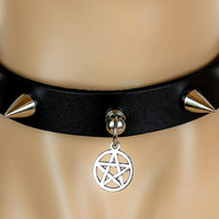 Silver Pentagram & Spike Leather Choker Alternative Necklace