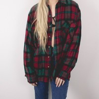 Vintage Red Green Plaid Button Up Shirt