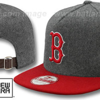 Find Red Sox '2T MELTON A-FRAME STRAPBACK' Hat by New Era