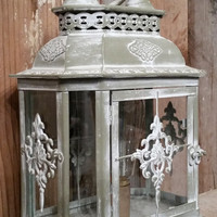 Shabby chic white lamp nightstand desk lantern rustic home decor primitive farmhouse style photo prop Edison bulb lighting light vintage