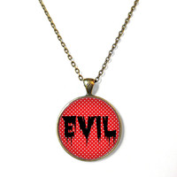 Red Polka Dot Spooky Cute EVIL Necklace - Funny Pastel Goth Soft Grunge Gravestone Jewelry