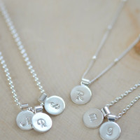 Tiny Sterling Silver Initial Necklace, Personalize Initial Necklace