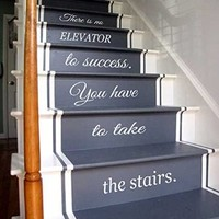 Wall Decals Vinyl Decal Sticker Children Kids Nursery Baby Room Interior Design Home Decor Staircase Stairway Stairs Words Phrase Love Family Quotes There Is No Elevator to Success You Have to Take the Stairs Kg752