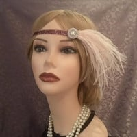 1920's Art Deco Pearl Rhinestone Mauve Pale Violet Flapper Headband Ostrich Feather 20's Gatsby Halloween 20s Wedding Headpiece (720)