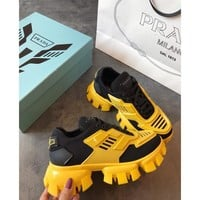 Prada Cloudbust Thunder Black/ Yellow Sneakers - Best Online Sale