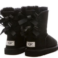 Ugg Fashion Winter Women Cute Bowknot Flat Warm Snow Ankle Boots-5