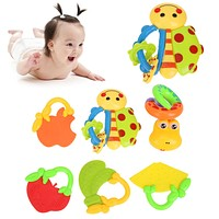 6pcs/set Baby Rattle Mobiles Toy Kids Newborn Infant Cartoon Animal Fruit Handbell Developmental Toys Gift AO#P