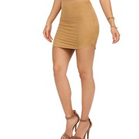 Taupe Short Notice Suede Mini Skirt