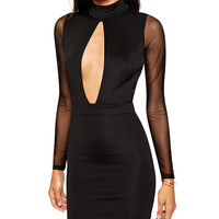 Black High Neck Cut Out Front Bodycon Dress with Sheer Long Sleeve