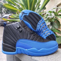 Air Jordan 12 Retro Black/royal Blue Basketball Shoes | Best Online Sale