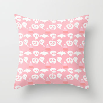 Pink Adorable Halloween Pattern Throw Pillow by Adorkible