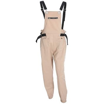 Women Loose Elegant Cargo Pants Overalls Strappy Backless Khaki Bib Trousers