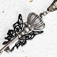 The Sorceress's Kiss Steampunk Necklace - Black Butterfly Silver Key Steampunk Necklace - Birthday Gift for Her